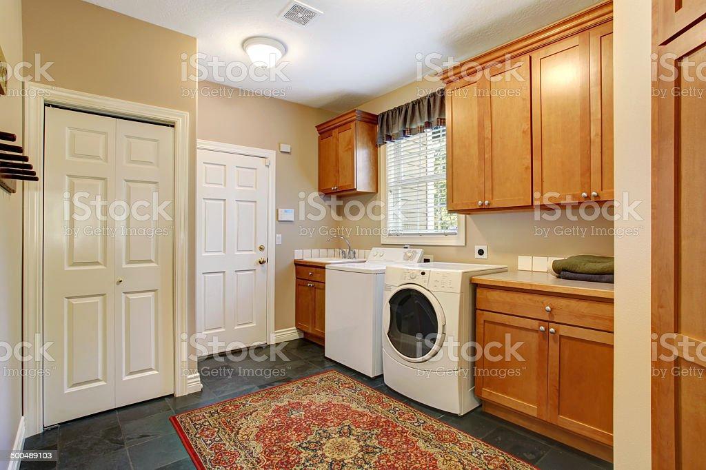 Spacious laundry room inteiror stock photo