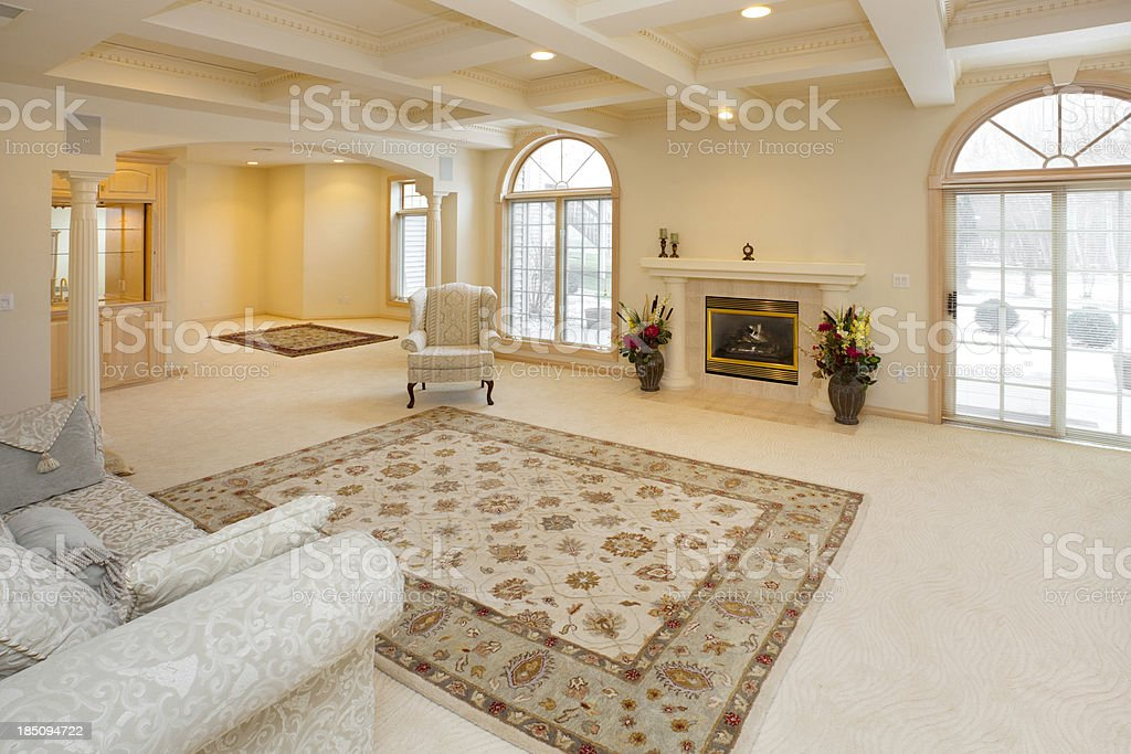 Spacious Living Room With Intricate Hardwood Ceiling royalty-free stock photo