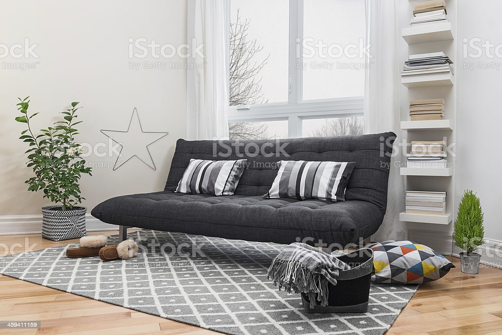 Spacious living room with modern decor stock photo