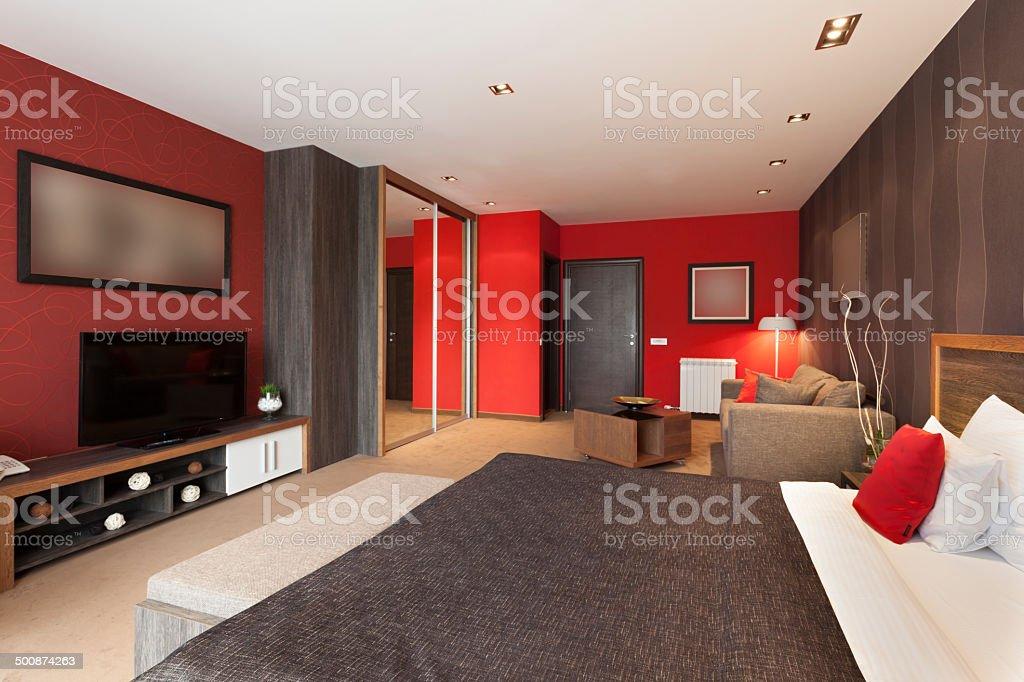 Spacious luxury hotel room interior stock photo