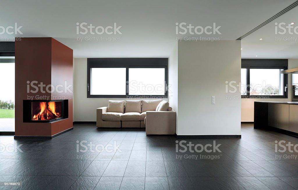 Spacious minimalist house interior design royalty-free stock photo