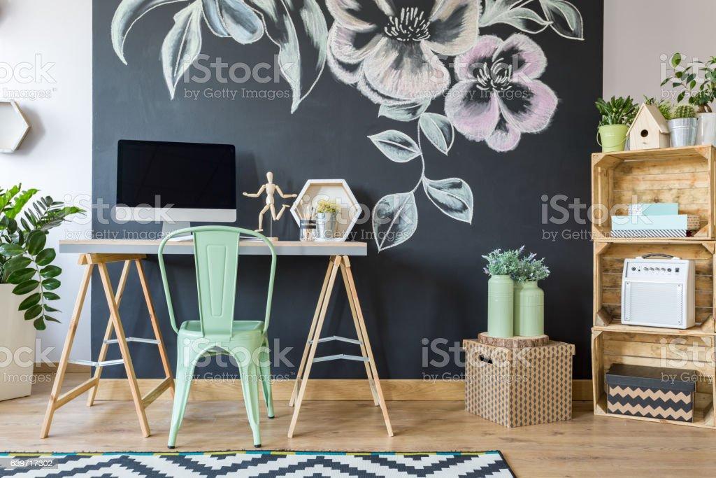 Spacious modern study home office stock photo