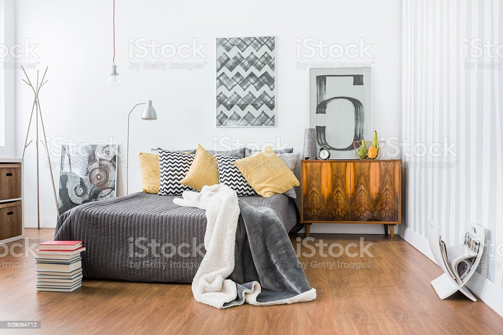 Spacious room with double bed stock photo