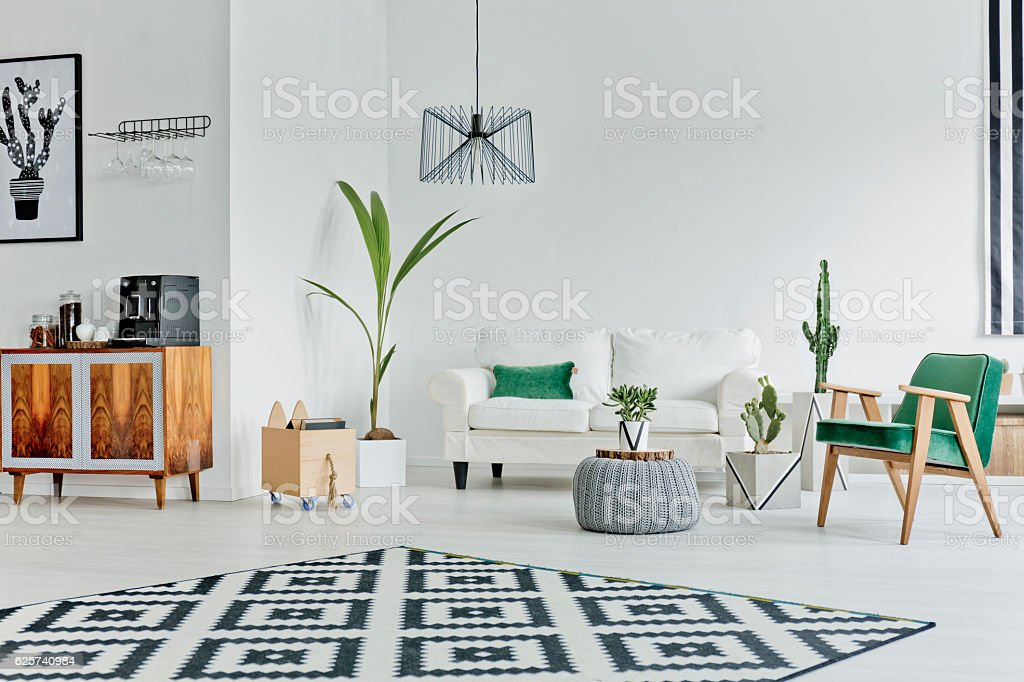 Spacious room with pattern carpet stock photo