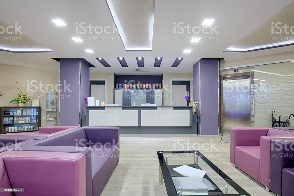 Spacious waiting room in a modern clinic stock photo