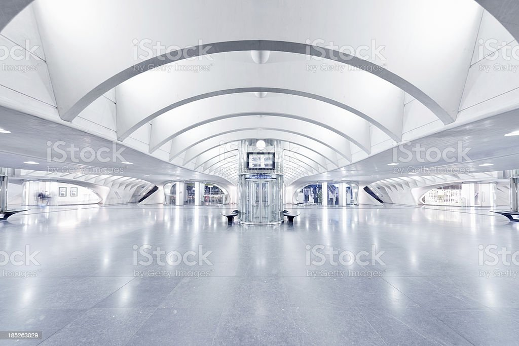 Spacious white modern subway station royalty-free stock photo