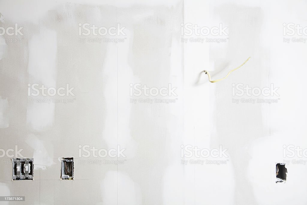 Spackle on Unpainted Drywall Plasterboard Background stock photo