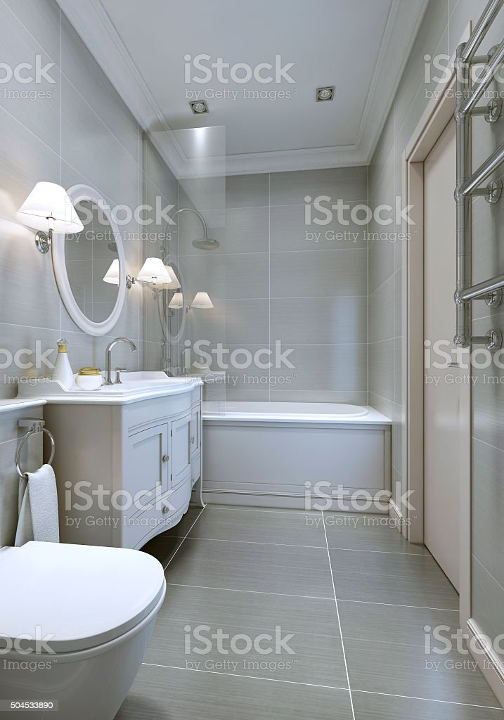 Spacy modern bathroom with classic furniture stock photo