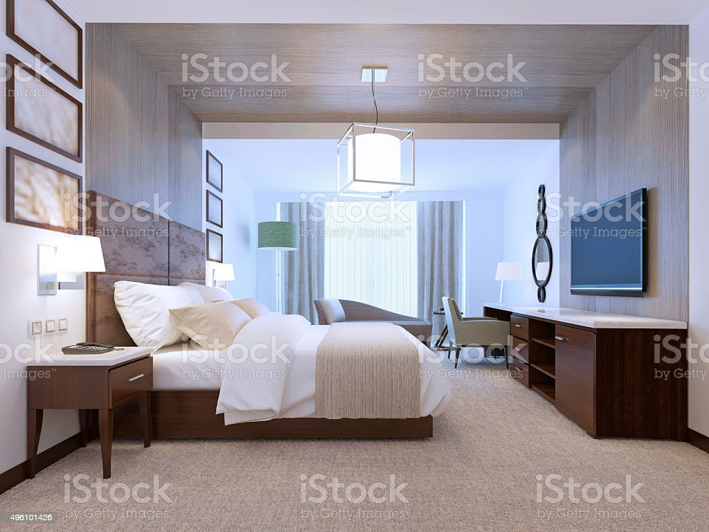 Spacy room with wall decorations stock photo