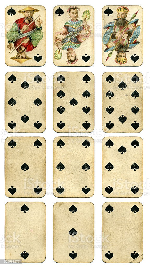Spades suit Four Continents playing cards by Dondorf 1900 stock photo