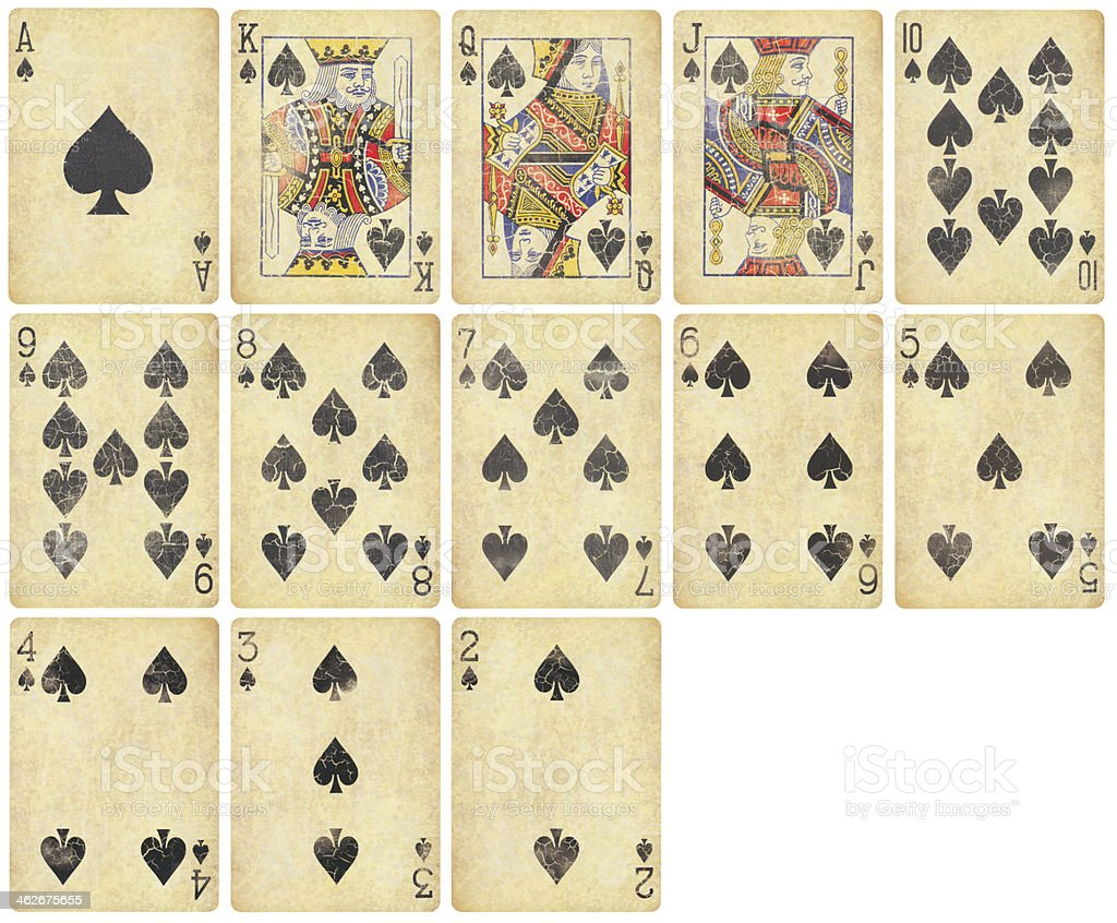 Spades Suit of Vintage Playing Cards stock photo