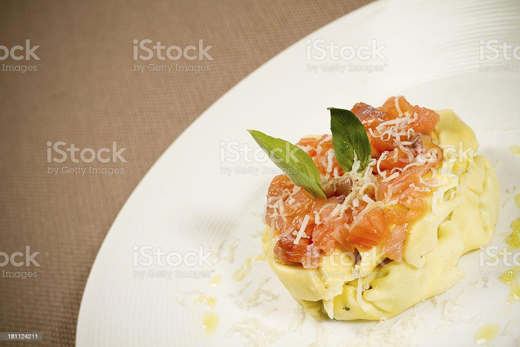 Spagetti al salmone royalty-free stock photo