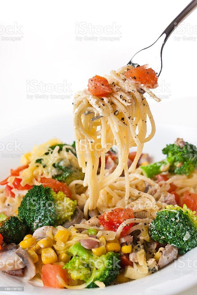 Spagetti with broccoli stock photo