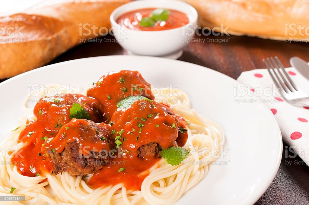 Spageyyi and meat stock photo