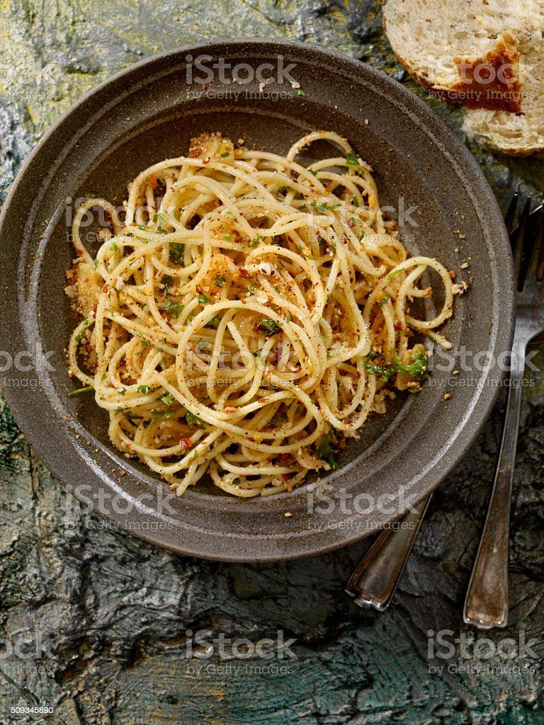 Spaghetti Aglio e Olio stock photo