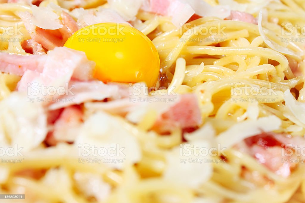 Spaghetti alla carbonara with egg and parmesan royalty-free stock photo