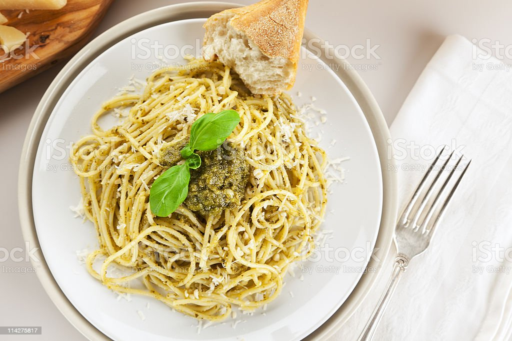 spaghetti alla genovese meal from above stock photo