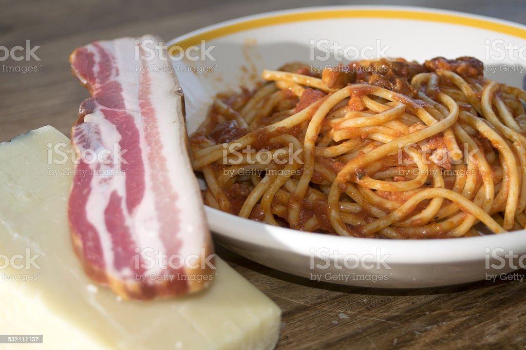 spaghetti all'amatriciana stock photo