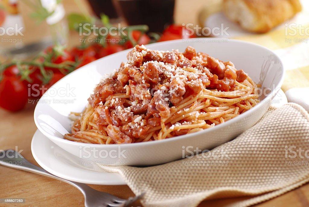 Spaghetti Amatriciana in the white plate stock photo