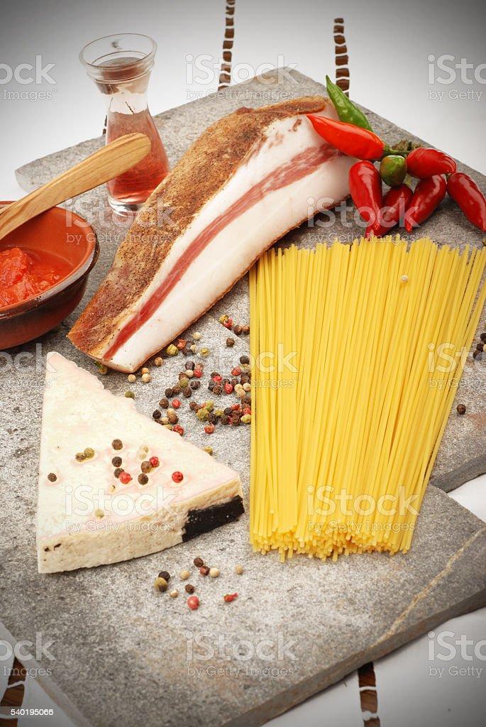 spaghetti Amatriciana stock photo