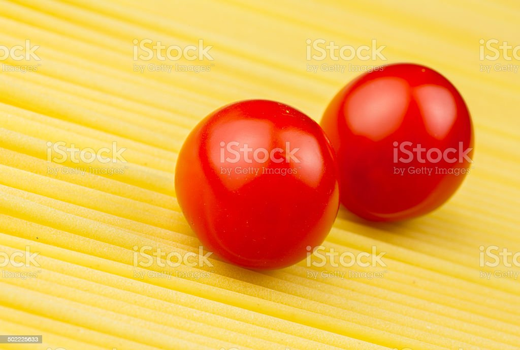 Spaghetti and cherries tomatoes royalty-free stock photo