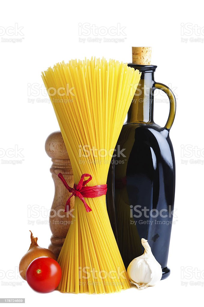 spaghetti and ingredients royalty-free stock photo