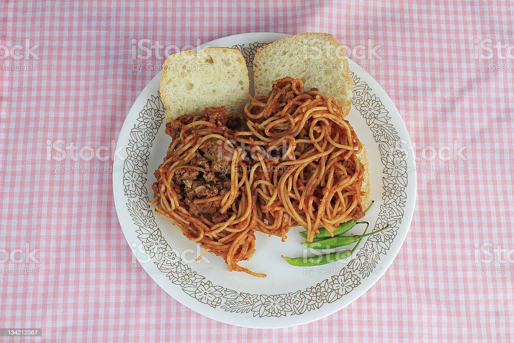 Spaghetti and Meatball Slider royalty-free stock photo