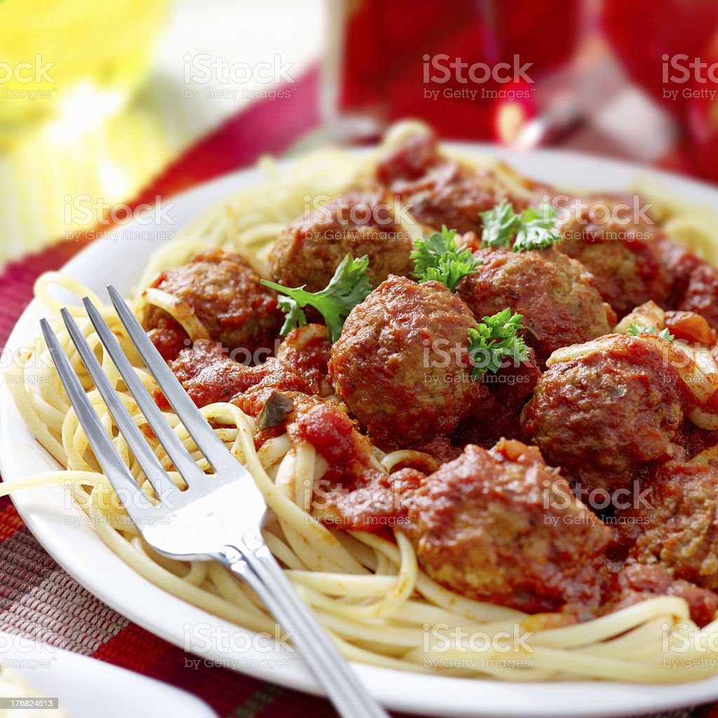 spaghetti and meatballs dinner royalty-free stock photo