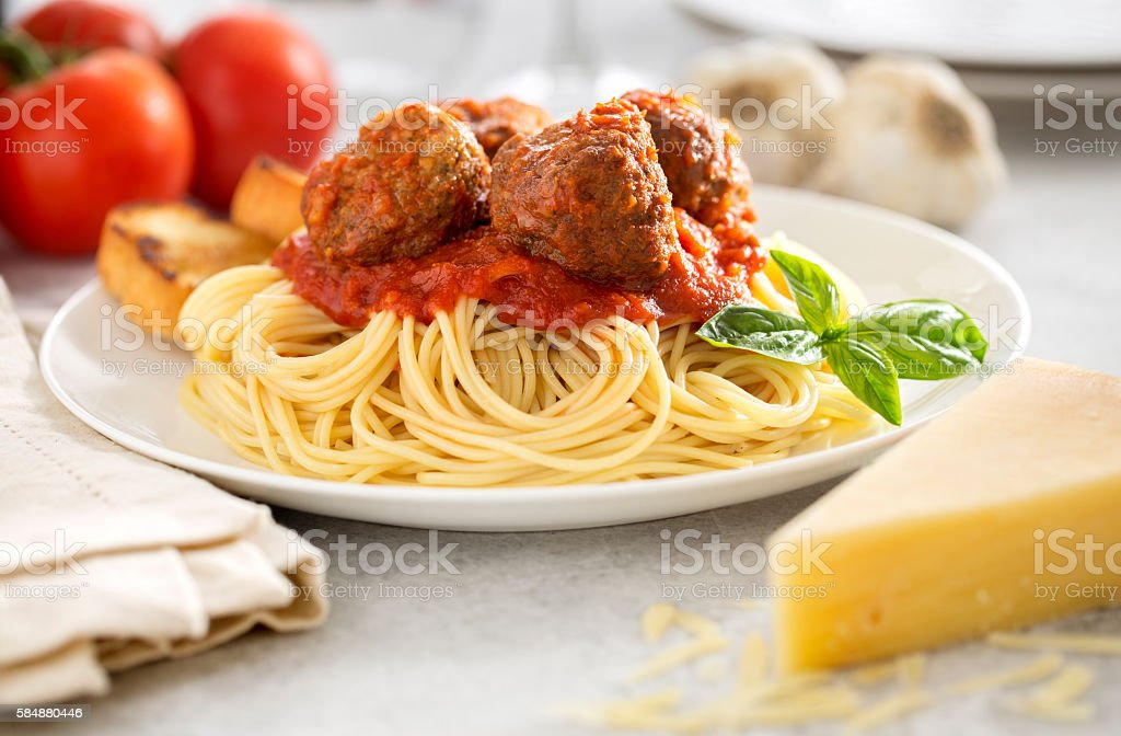 Spaghetti and Meatballs Plate with Cheese stock photo