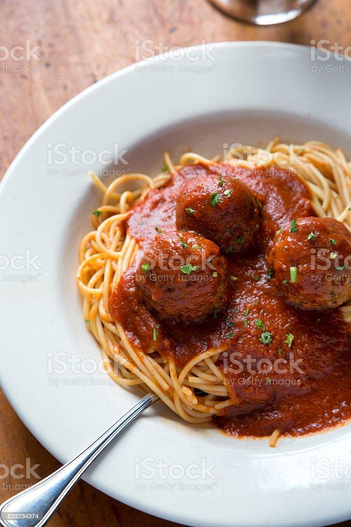 Spaghetti And Meatballs With Marinara Sauce stock photo
