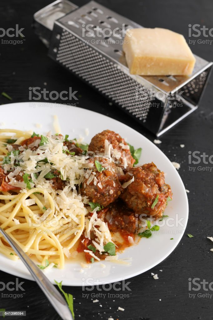 Spaghetti And Meatballs,Parmesan cheese And Grater stock photo