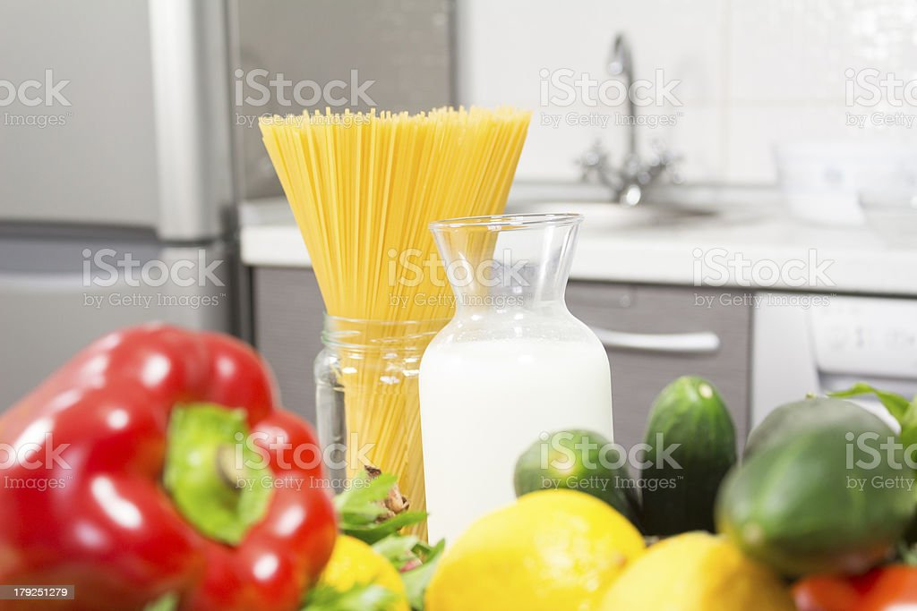 spaghetti and milk royalty-free stock photo