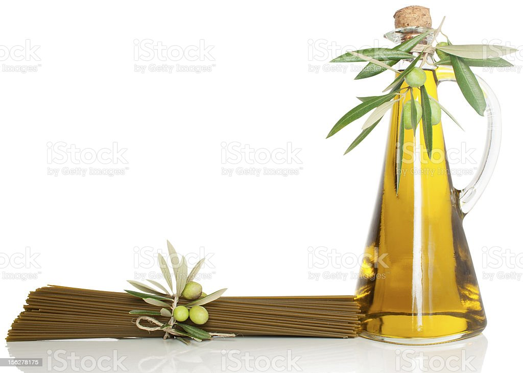 spaghetti and olive oil royalty-free stock photo