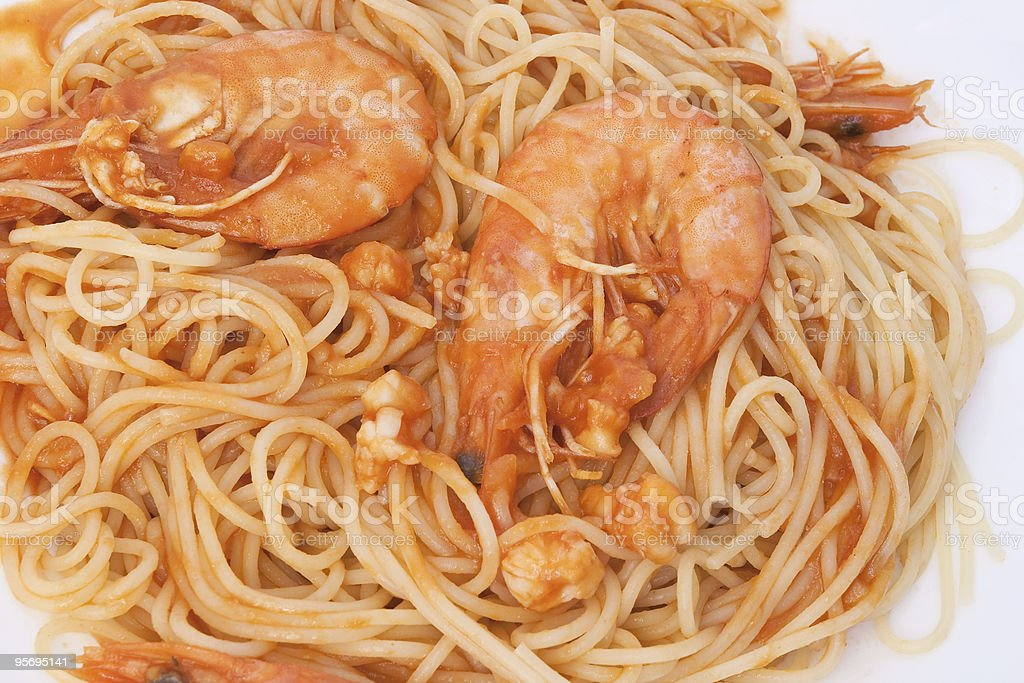 spaghetti and shrimps royalty-free stock photo