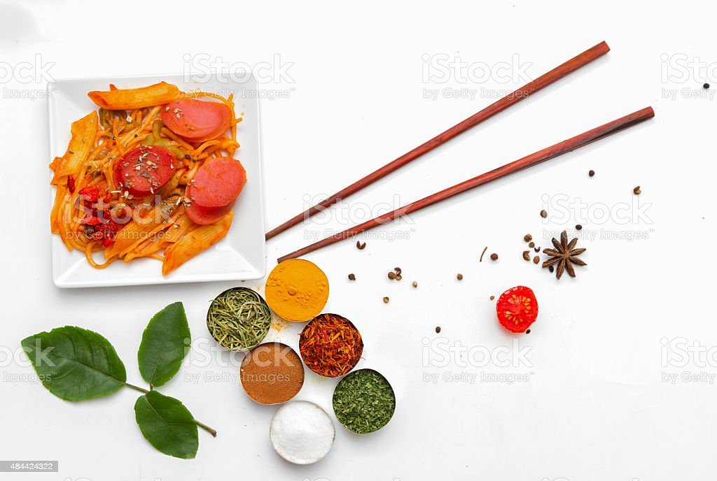 spaghetti and spices. stock photo