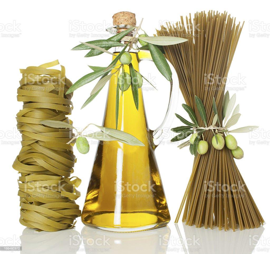 Spaghetti and Tagliatelle pasta of spinach stock photo