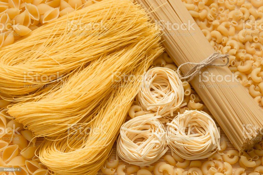 Spaghetti and tagliatelle. stock photo