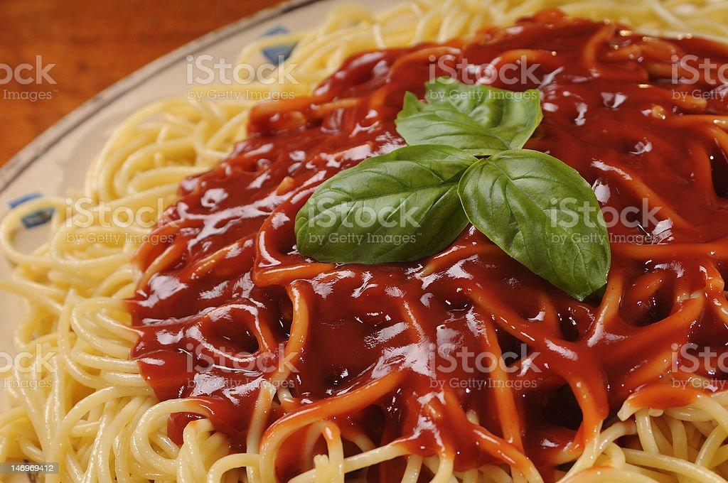 Spaghetti and tomato royalty-free stock photo