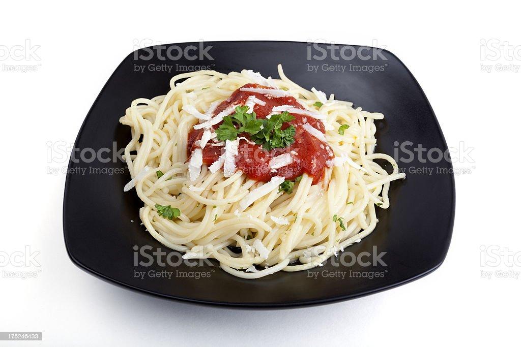 Spaghetti and tomato sauce royalty-free stock photo