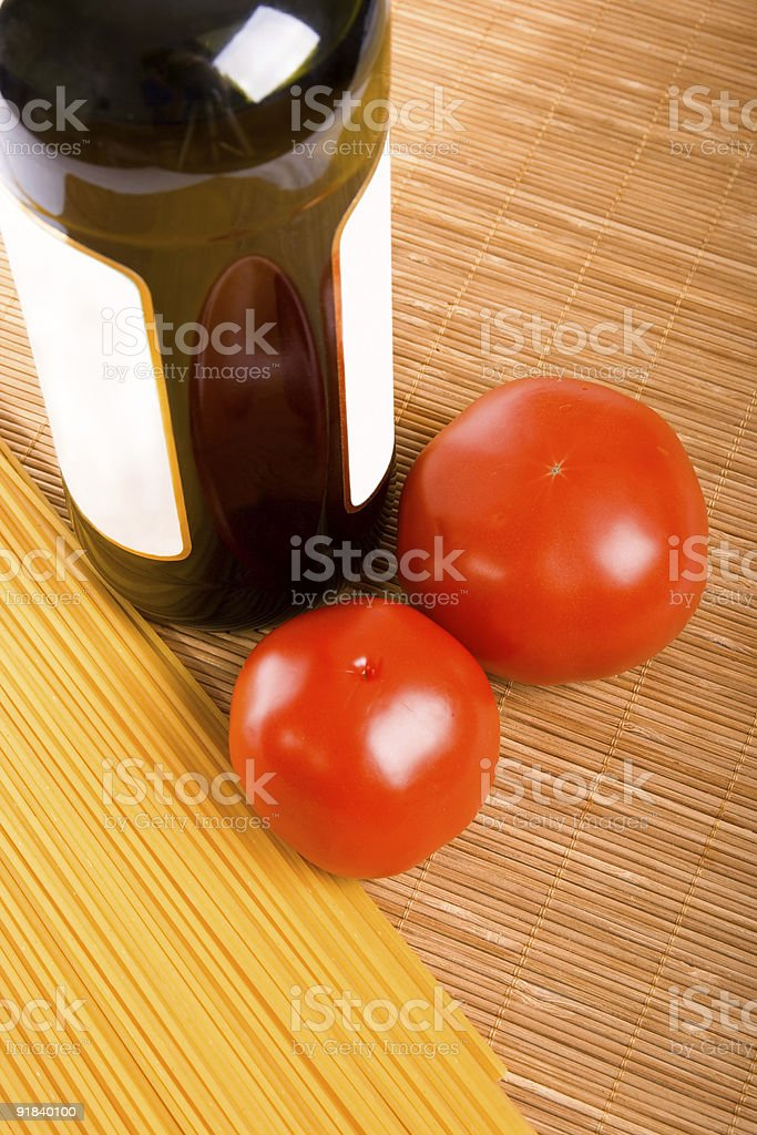 Spaghetti and tomatoes royalty-free stock photo