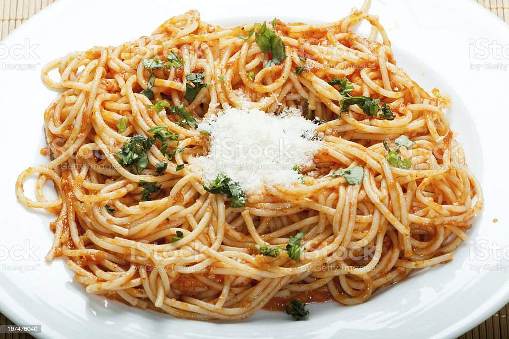 Spaghetti arrabbiata stock photo
