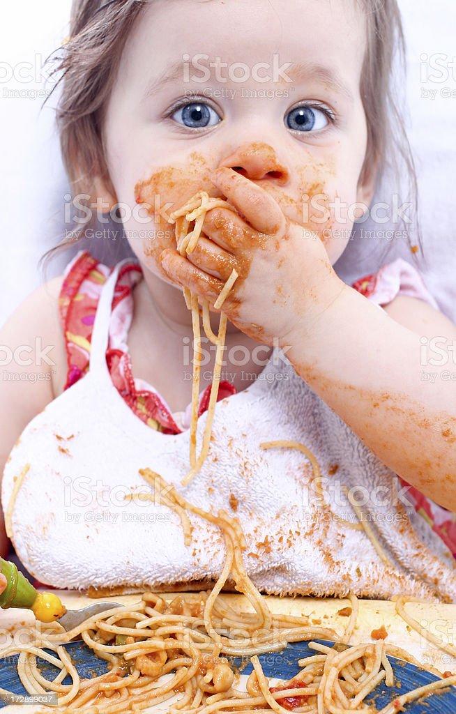 Spaghetti baby stock photo