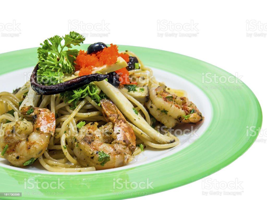 Spaghetti black olive pepper with shrimp royalty-free stock photo