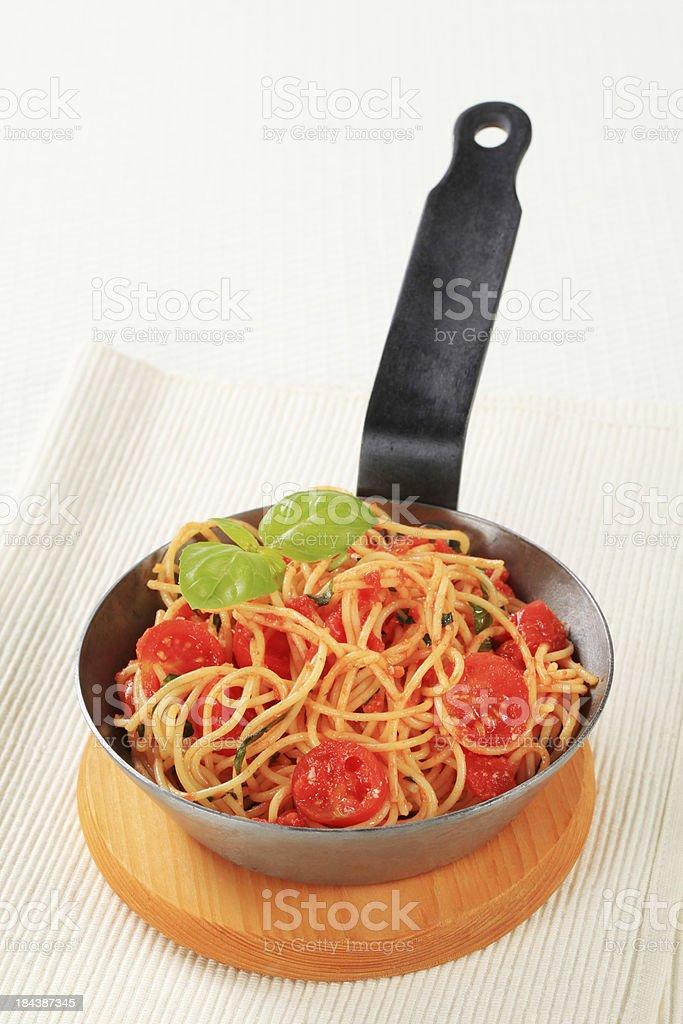 Spaghetti bolognese in a casserole stock photo