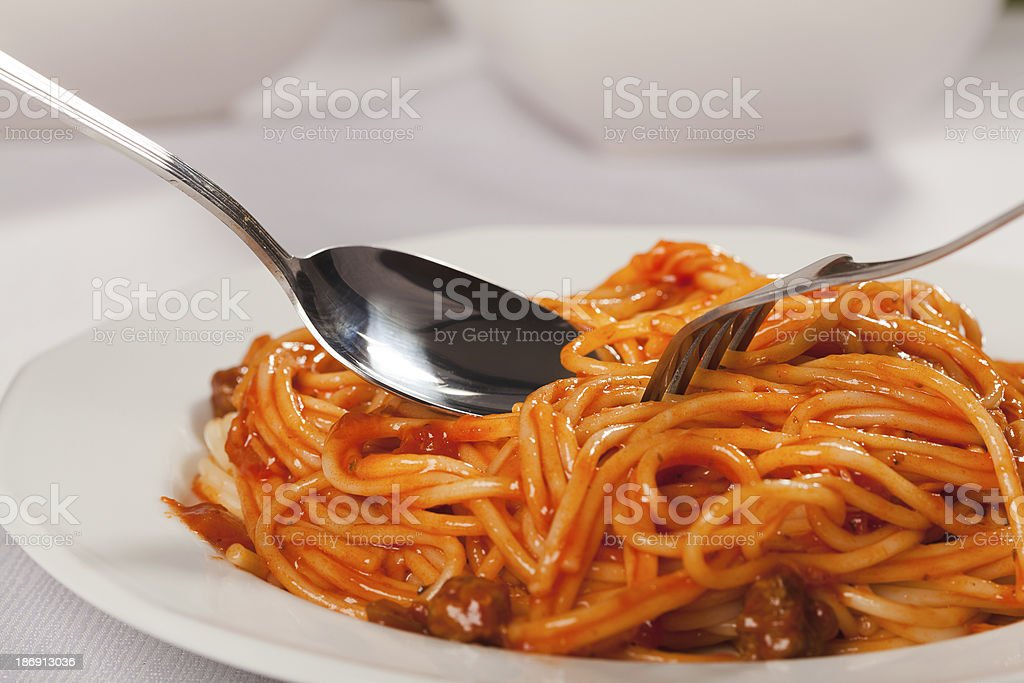 Spaghetti bolognese on plate royalty-free stock photo