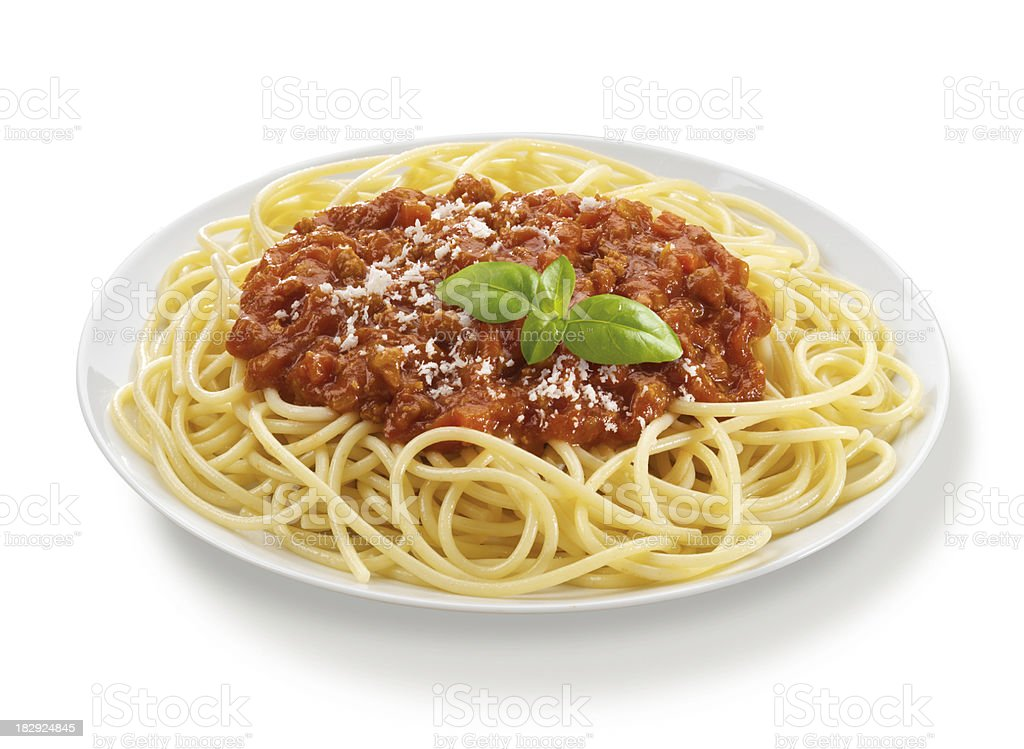 Spaghetti Bolognese with Basil Leaf royalty-free stock photo