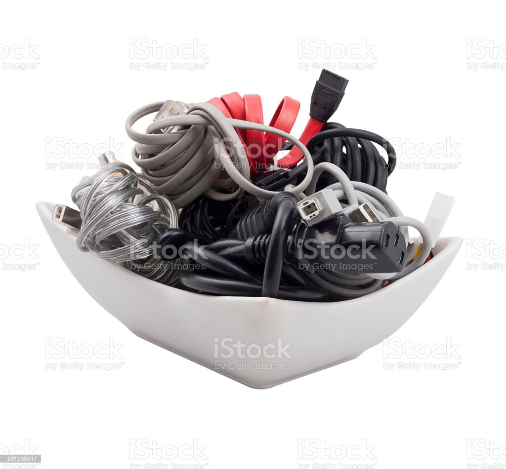 Spaghetti cable stock photo