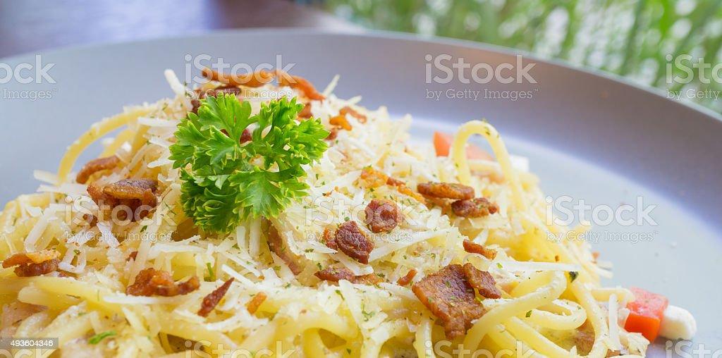 spaghetti caborana stock photo