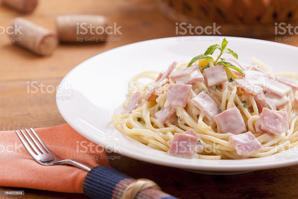 spaghetti carbonara royalty-free stock photo
