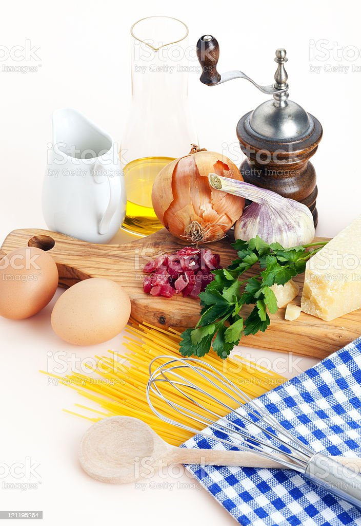 spaghetti carbonara recipe royalty-free stock photo